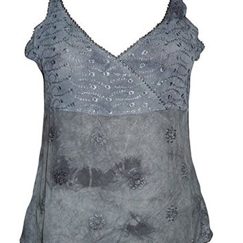 Women's Bohemian Stonewashed Strappy Tank Top Grey Embroidered V Neck Blouse S