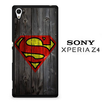 Wood Superman Logo 1215 F0249 Sony Xperia Z4 Case