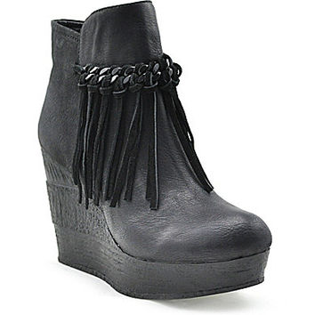 Sbicca Zepp Fringe Wedge Booties - Black