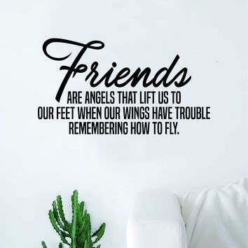 Friends Are Angels Wall Decal Decor Art Sticker Vinyl Room Bedroom Teen Kids Nursery Inspirational Home Love Family
