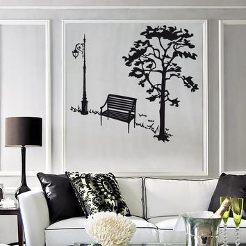 Wall Stickers Vinyl Decal Tree Nature Park Bench Living Room Cool Decor (ig1308)