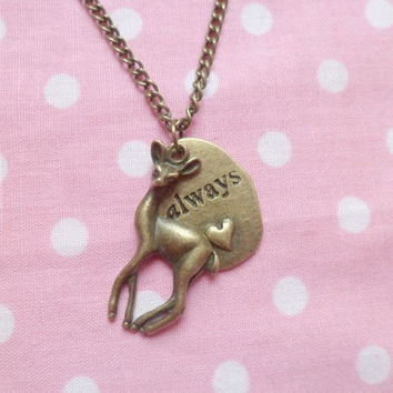 Harry Potter Always Said Snape Bronze Deer Doe Necklace