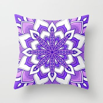 Purple Flower Mandala Throw Pillow by SimplyChic