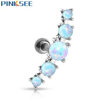 1pc Gothic Punk Surgical Steel Opal Ball Ear Tragus Cartilage Barbell