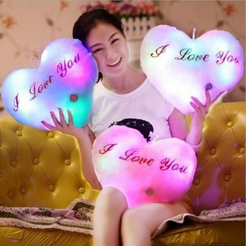 Hot Colorful Heart Luminous Pillow LED Light Cushion Plush Decorative Pillow  Kids Toys Christmas Toys Valentine's Day Gifts
