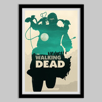 The Walking Dead - Daryl Dixon - Teal version - the walking dead poster, daryl dixon, zombie, walker, horror, tv show, motorcycle, crossbow