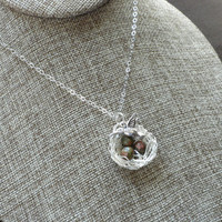 Silver Bird Nest Necklace, Nature Lovers Necklace, Bird Nest Jewelry, Mom to Be, Silver Bird Charm Necklace, Mother's Day Gift, UnakiteStone
