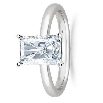 .1/2 - 2 Carat GIA Certified 14K White Gold Solitaire Radiant Cut Diamond Engagement Ring (D-E Color, VS1-VS2 Clarity)