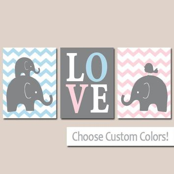 TWIN ELEPHANT Nursery Wall Art, Canvas or Prints, Baby Girl Boy Elephant Decor, Twin Bedroom Decor, Pink Blue Elephant Pictures Set of 3