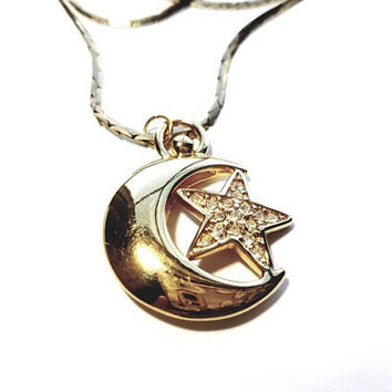 Vintage Gold Necklace with Large Crescent Moon and Rhinestone Star Pendant