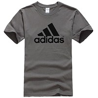 Adidas Summer New Fashion Bust Letter Print Women Men Sports Leisure Top T-Shirt Dark Gray
