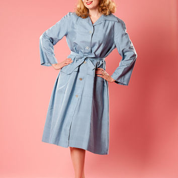 Vintage 1980s Blue Rain Trench Silk Coat Hand Tailored Spring Fashions