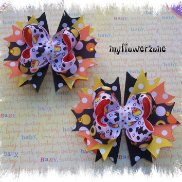 Halloween Stacked Hair Bows - Layered Halloween Boutique Hair bows - Halloween Stacked Hairbows - Pigtails Hair Bows - Bats  and Candy Corn