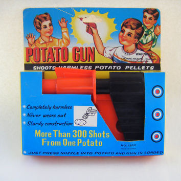 Potato Spud Gun Classic Pistol Vintage Toy Retro 1950s Cool Nostalgic Novelty In Box Collectible