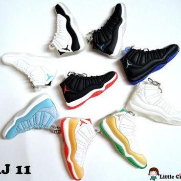 PEAPUG7 1 pc Air Jordan Retro XI Sneaker Keychain - 11 Colors available - Cute Mini Shoe Flatb