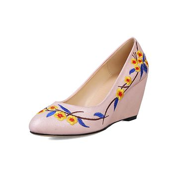 Floral Embroidery Round Head Shallow-mouth Wedges Shoes Woman