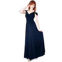Evanese Ruched Elegant Long Formal Dress w/Shoulder Bands