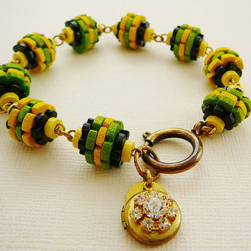 Vintage Wood Bracelet, Rhinestone Locket, Green Yellow Black by DiBAjewelry
