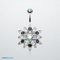 Radiant Chrysanthemum Flower Belly Button Ring