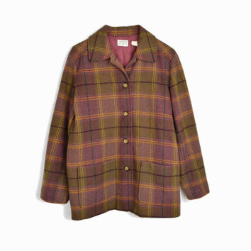 The New Englander Coat - Vintage 90s Plaid Wool-Blend Coat in Olive & Burgundy