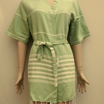 Pistachio green colour women's Turkish peshtemal kimono style short bathrobe, bridesmaid robe, dressing gown.