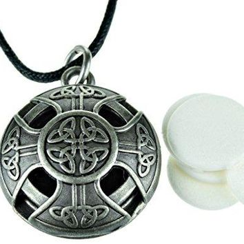 SHIP BY USPS: Celtic Cross Pewter Aroma Aromatherapy Essential oil Diffuser Necklace locket Pendant Jewelry