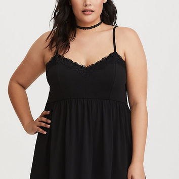Black Lace Trim Babydoll Cami
