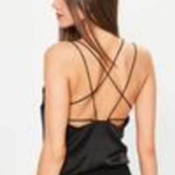 Missguided - Black Satin Strappy Bodysuit