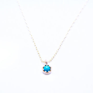 Turquoise Drop Matte Gold Pendant Necklace (also in Blue & Purple)