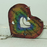 Heart Key chain set of 3 Always Together saying Best Friend Key chains  Rainbow H1