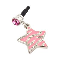 For Apple iPhone 4S 4 Galaxy S Cell Phones & MP3s Pink Heart Silver Gems Universal 3.5mm Headphone