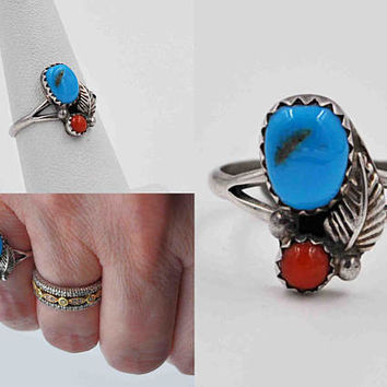 ON SALE Vintage Navajo Sterling Silver, Turquoise & Coral Ring, Two Stone, Feather, Sawtooth Bezel, Native American, Size 6 1/2, Nice! #b894