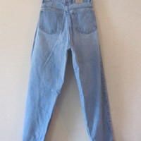 High Waisted Jeans, Skinny Mom Jeans, Vintage Bass Denim Jeans, Womens High Waist 28 Size 8, Hipster Grunge Denim 80s 90s, Light Wash Denim