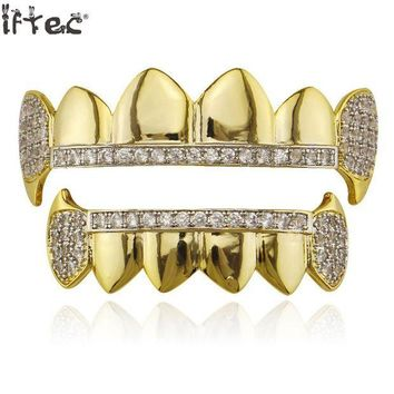 ac DCCKO2Q Iftec Gold Hip Hop Teeth Grillz Micro Pave Cubic Zircon Top&bottom Vampire Fangs Teeth Grills Set Holleween Gift Men Women