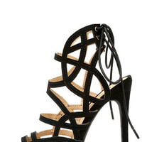 Whirlwind Romance Black Suede Caged Heels