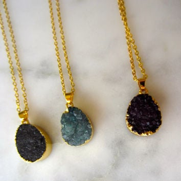 Druzy Necklace, Druzy oval pendant, druzy oval necklace, gifts for her, gifts for women, druzy gemstone, natural druzy jewelry