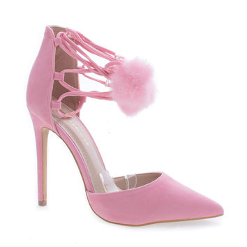 Kiola Pink F-Suede by Shoe Republic, Pink Suede D'Orsay Pom Pom Ankle Wrap Stiletto Heel Sandals