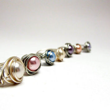 Set of 7 Sterling Silver Wire Rings, Swarovski Pearl Rings, Wire Wrapped Pearl Rings, Women's Rings, Wedding Jewelry