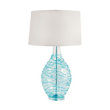 300B Clear Glass Urn Table Lamp With Hand Applied Blue Coils