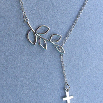 Leaf Branch & Cross Lariat, Charm Necklace, Swarovski Crystal Birth Stone Option, Personalized, Antique Silver, Jesus Cross, Isle Of Craftin