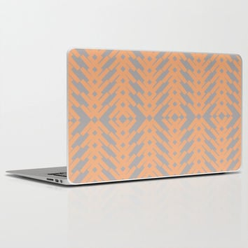 Peach and Gray Tribal Pattern Laptop & iPad Skin by Nikki Neri