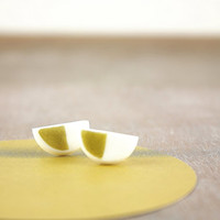 Geometric contemporary minimal clay studs, little white and gold earrings