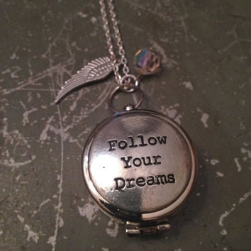 Working Compass Necklace Follow Your Dreams Graduation Gift