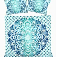 NEW Boho Blue Green Ombre Tapestry Twin Duvet Cover SET