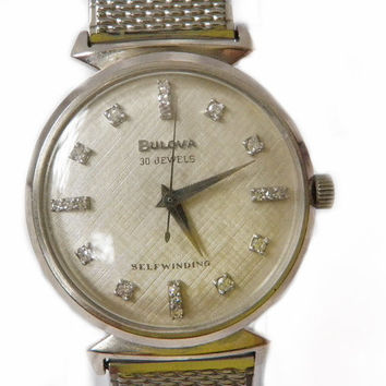 Mad Men 1960s Bulova Watch Solid 14kt White Gold and Diamonds, 30 Jewel Automatic Shock Resistent