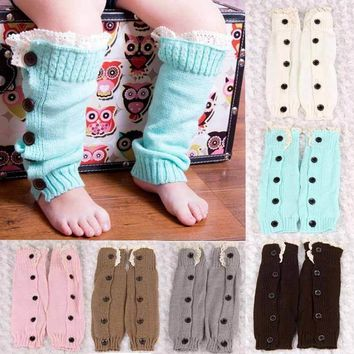 Baby Girls Leg Warmers - Lace Boot Cuffs with Buttons