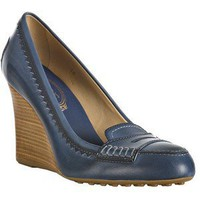 Tod's blue leather 'Newze' loafer wedges / Polyvore