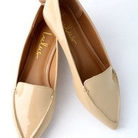Emmy Nude Patent Pointed Loafers