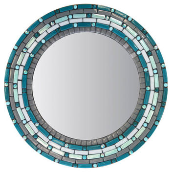 Teal and Gray Round Wall Mirror