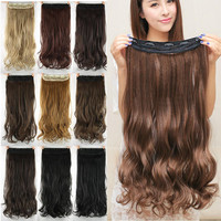 24inch 60cm Synthetic Clip In Hair Extensions Curly Wavy Heat Resistant Hairpiece Natural Hair Extension